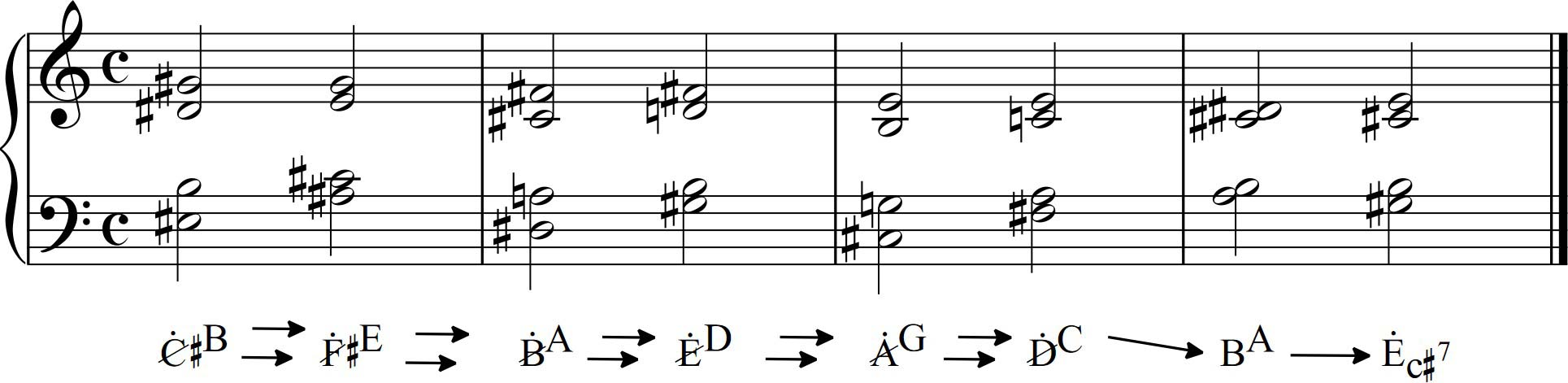 Examples of harmonic progressions with homotonic relaxions these dominant chords with two fundamentals also link well with the dissonant augmented chords type ce since it is the resulting chord if we make a htonal hexwebz Choice Image